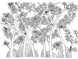 Mangrove Forest with Bird Doodle Vector