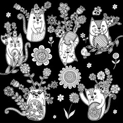 Cat with Flower Doodle Free Hand Vector