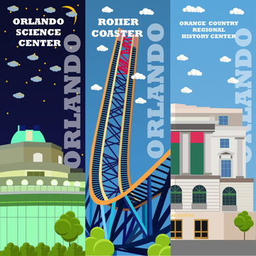 Orlando tourist landmark banners set. Vector illustration with American famous buildings. Roller coaster, history center. Travel to Florida concept