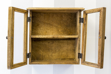 Empty rustic wall mounted display cabinet, horizontal.