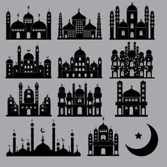 Mosque Icon Set Vector