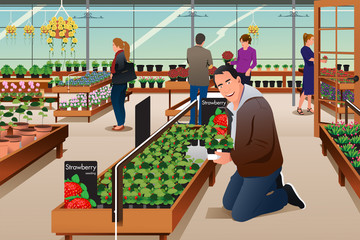 Man Buying Strawberry Plant