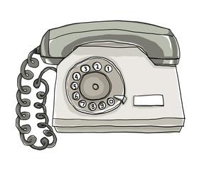two tone  telephone Vintage Wall Phone illustration