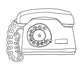 two tone  telephone Vintage Wall Phone line art illustration