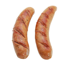 Fried smoked sausages isolated on white background
