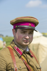 The commander of the Workers 'and Peasants' Red Army. Military historical reenactment.