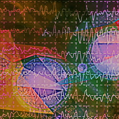 brain wave on electroencephalogram EEG for epilepsy, illustration grunge color background
