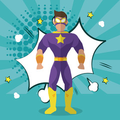Superhero icon. Cartoon design. vector graphic