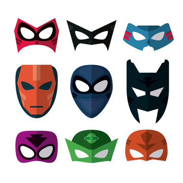 Icon set of Superhero mask. Cartoon design. vector graphic