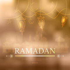 Ramadan Kareem islamic background outline Lamp sketch and silhou