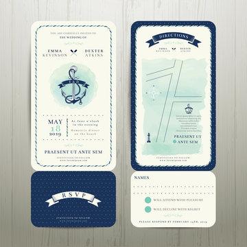 Wedding on the beach watercolour nautical theme with rsvp card set