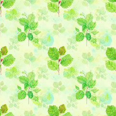 Watercolor floral seamless pattern with spring young green leaves, hazelnut branches on green background