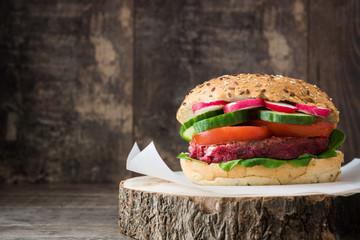 Veggie beet burger on wood table