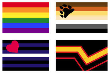 LGBT Pride flags. Gay Pride Rainbow flag. Bear Brotherhood flag. Leather Pride flag, black and blue with love. Rubber Pride flag, also known as Latex Pride flag. Illustration on white background.