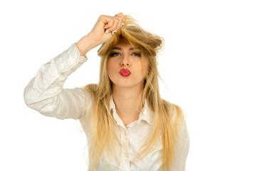 girl making air kiss in the studio