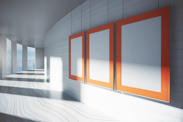Blank picture frames in corridor
