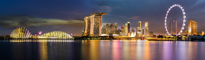 Singapore Skyline and view of Marina Bay at Dusk