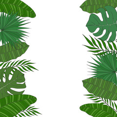Vertical frame of palm tree leaves. Tropical card or banner.