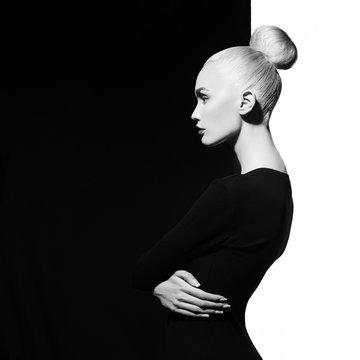 Elegant blode in geometric black and white background