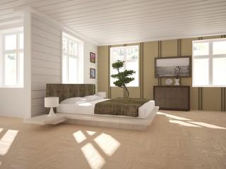 white interior design of modern home. Scandinavian interior