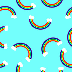 Rainbow pattern for seamless background...Rainbow with clouds on a blue background in a random order