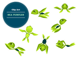 Vector Clipart Set cartoon turtle.