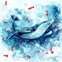 Watercolor magic whale