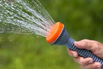 hand of gardener watering garden with sprinkler