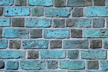 Background of blue brick wall pattern texture.