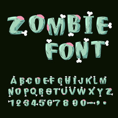 Zombie font. Bones and brains. Living dead alphabet. Green terri