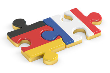 France and Germany puzzles from flags, relation concept. 3D rend