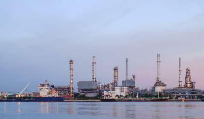 Oil refinery / Oil refinery at twilight time.
