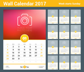 Wall Calendar Template for 2017 Year. Set of 12 Months. Vector Design Template with Place for Photo. Week starts Sunday. Portrait Orientation