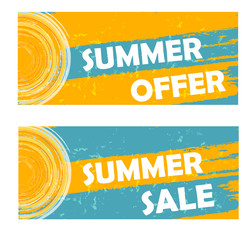 summer offer and sale with sun sign, drawn banners, vector