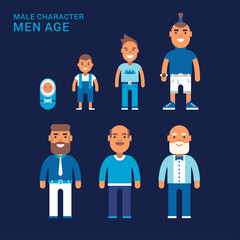 Men age. Life cycle. Different generations of men. From a cradle to a grave. Flat vector illustration
