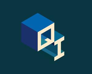 QI isometric 3D letter logo. three-dimensional stock vector alphabet font typography design.
