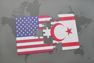 puzzle with the national flag of united states of america and northern cyprus on a world map background