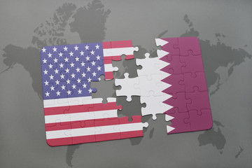 puzzle with the national flag of united states of america and qatar on a world map background