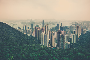 Hong Kong downtown view from Victoria peak