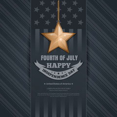 Independence Day card. 4th of July. Gold star and greeting inscription on the background of the USA flag. Happy Independence Day. Vector illustration