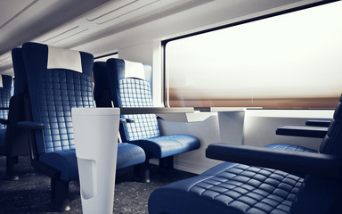 Interior Inside First Class Cabin Modern Speed Express Train Nobody Blue  Chairs Window Comfortable Search photos luxurious armchair