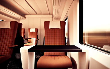 Interior Inside First Class Cabin Modern Speed Express Train Nobody Brown  Chairs Window Comfortable Search photos luxurious armchair