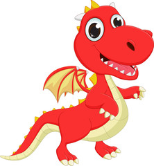 cute cartoon red dragon posing