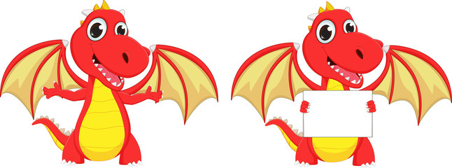 cute two cartoon red dragon posing