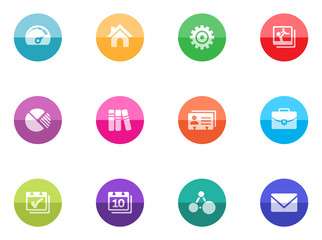 A set icons for mobile apps or personal website in color circles.