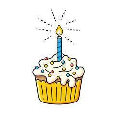 Birthday cupcake icon.