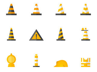 Traffic warning sign icon series in flat color style.