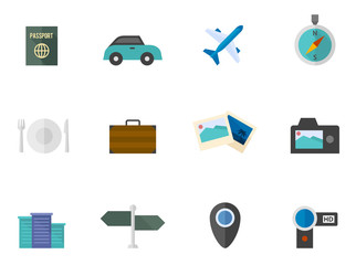 Travel icon series in flat color style.