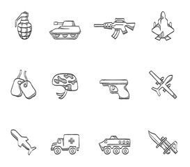 Military icons in sketch.
