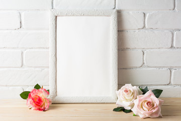 Romantic style white frame mockup with roses
